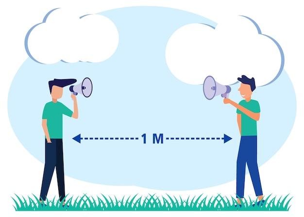 Personnage de dessin animé graphique de vecteur d'illustration de garder une distance de 1 mètre