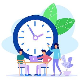 Personnage de dessin animé graphique de vecteur d'illustration de la gestion du temps
