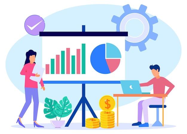 Personnage de dessin animé graphique de vecteur d'illustration de la gestion financière