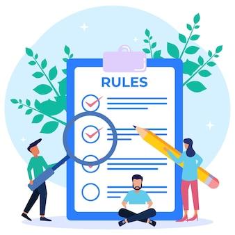 Personnage de dessin animé graphique de vecteur d'illustration de la liste des règles