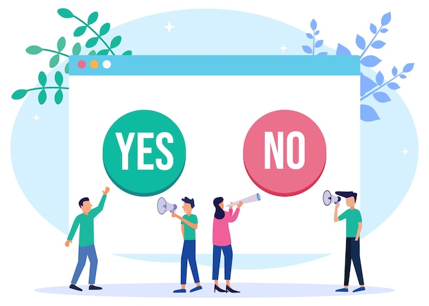Personnage de dessin animé graphique de vecteur d'illustration de oui ou non