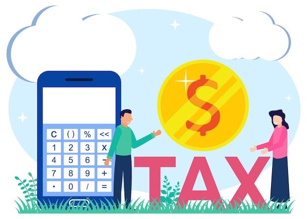 Personnage de dessin animé graphique de vecteur d'illustration de payer des impôts