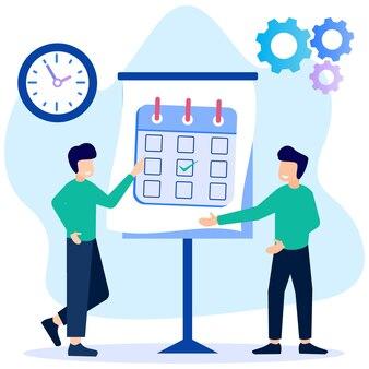 Personnage de dessin animé graphique de vecteur d'illustration de la planification d'entreprise