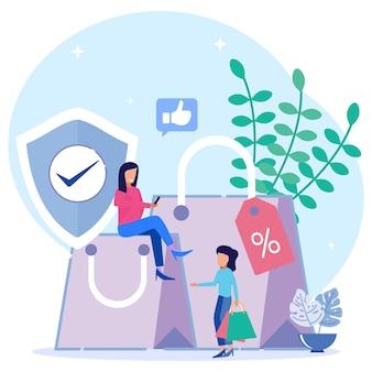 Personnage de dessin animé graphique de vecteur d'illustration de la protection des consommateurs