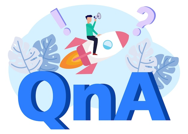 Personnage de dessin animé graphique de vecteur d'illustration de qna