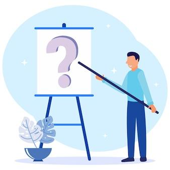 Personnage de dessin animé graphique de vecteur d'illustration de question