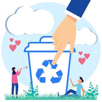 Personnage de dessin animé graphique de vecteur d'illustration de recyclage