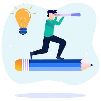 Personnage de dessin animé graphique de vecteur d'illustration des services de messagerie d'entreprise