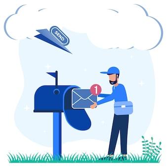 Personnage de dessin animé graphique de vecteur d'illustration des services de messagerie