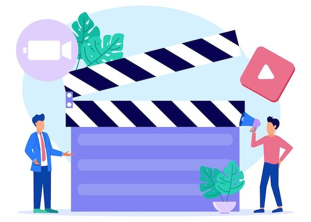 Personnage de dessin animé graphique de vecteur d'illustration des services de production vidéo