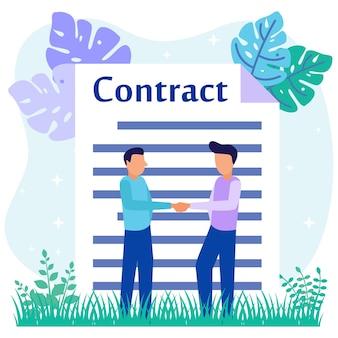 Personnage de dessin animé graphique de vecteur d'illustration de la signature du contrat