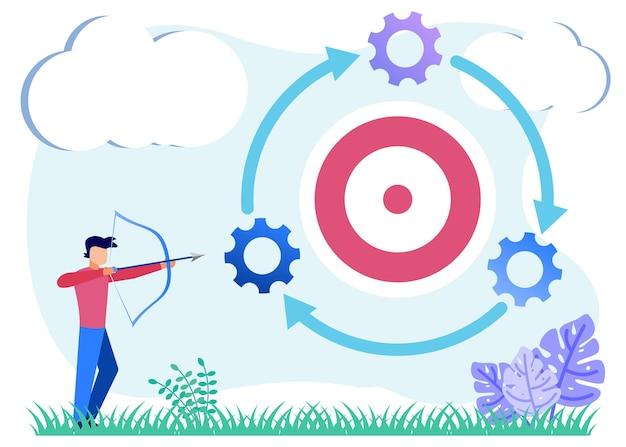 Personnage de dessin animé graphique de vecteur d'illustration de stratégie d'entreprise