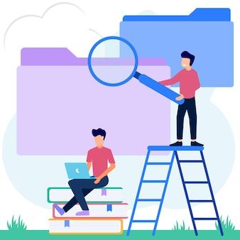 Personnage de dessin animé graphique vectoriel d'illustration de documents ou de fichiers dans le dossier du catalogue
