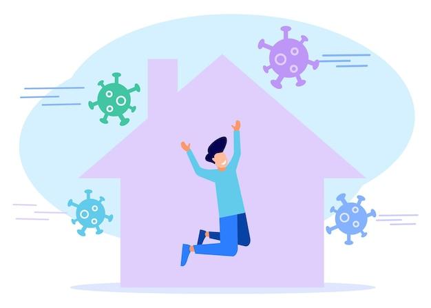 Personnage de dessin animé graphique vectoriel illustration de rester à la maison