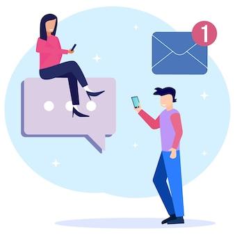 Personnage de dessin animé graphique vectoriel d'illustration des services de messagerie et du message