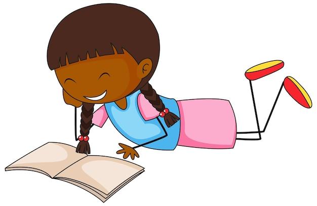 Un personnage de dessin animé de griffonnage de livre de lecture de fille