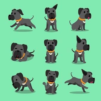 Personnage de dessin animé gris chien dogue allemand pose