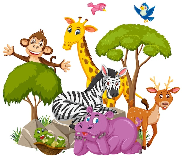 Personnage de dessin animé de groupe d'animaux sauvages sur fond blanc