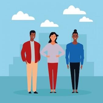 Personnage de dessin animé de groupe de personnes avatar
