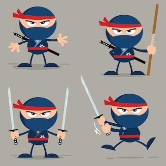 Personnage de dessin animé guerrier ninja avec armes design plat