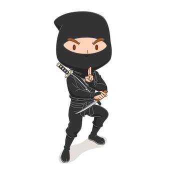 Personnage de dessin animé de guerrier ninja japonais.