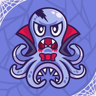 Personnage de dessin animé halloween pieuvre vampire