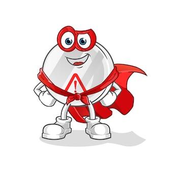 Personnage de dessin animé de héros de panneau d'avertissement