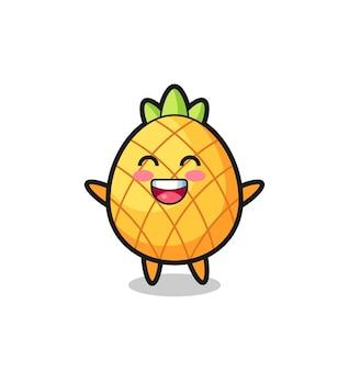 Personnage de dessin animé heureux bébé ananas, design de style mignon pour t-shirt, autocollant, élément de logo