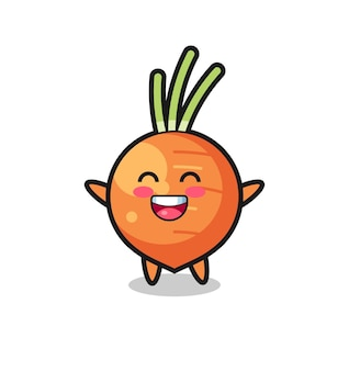 Personnage de dessin animé heureux bébé carotte, design de style mignon pour t-shirt, autocollant, élément de logo