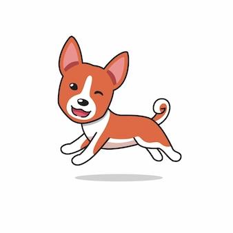 Personnage de dessin animé heureux chien basenji en cours d'exécution