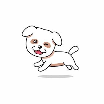 Personnage de dessin animé heureux chien blanc en cours d'exécution