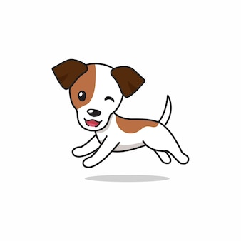 Personnage de dessin animé heureux jack russell terrier chien en cours d'exécution