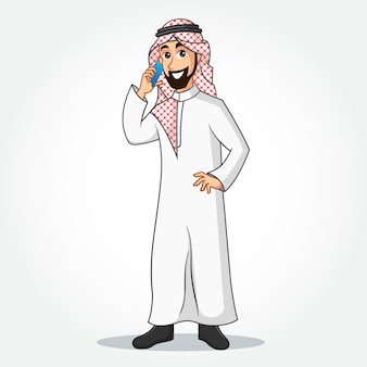 Personnage de dessin animé d'homme d'affaires arabe en vêtements traditionnels, parler au téléphone mobile et debout sur fond blanc