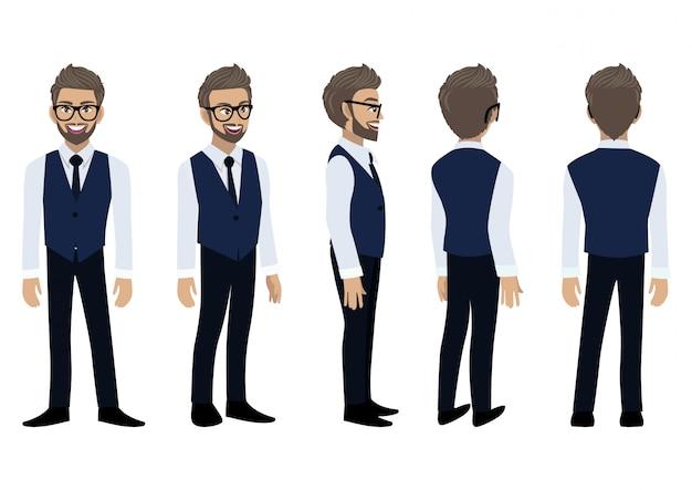 Personnage de dessin animé d'homme d'affaires avec une chemise intelligente et un gilet pour l'animation.