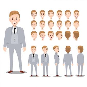 Personnage de dessin animé avec homme d'affaires en costume pour l'animation