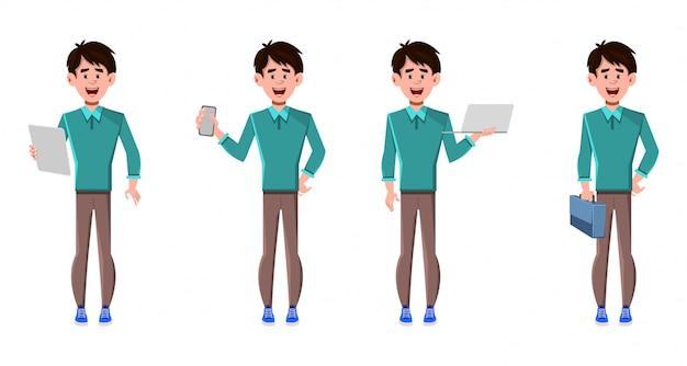 Personnage de dessin animé d'homme d'affaires dans différentes poses