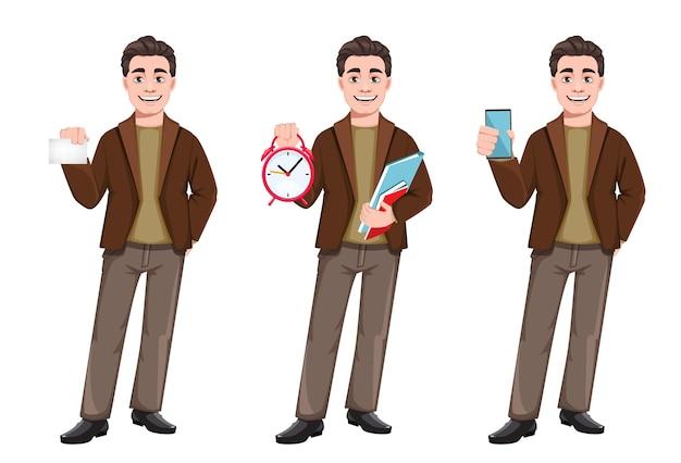 Personnage de dessin animé d'homme d'affaires dans un style plat, ensemble de trois poses