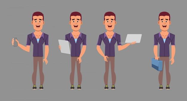 Personnage de dessin animé homme d'affaires décontracté dans des poses différentes