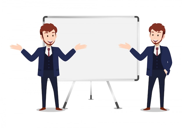 Personnage de dessin animé homme d'affaires, ensemble de deux poses