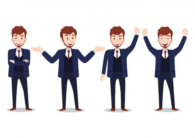 Personnage de dessin animé homme d'affaires, ensemble de quatre poses