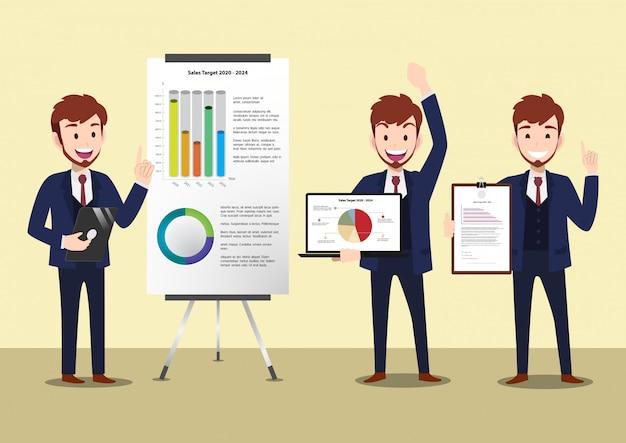 Personnage de dessin animé homme d'affaires, ensemble de trois poses