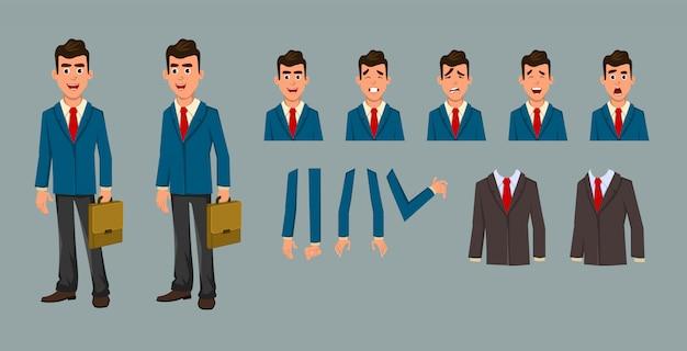 Personnage de dessin animé homme d'affaires pour la conception et l'animation