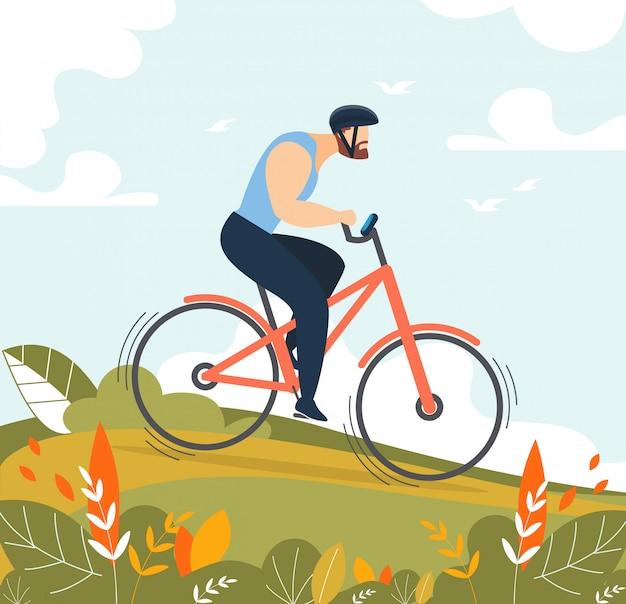 Personnage de dessin animé homme athlétique à vélo