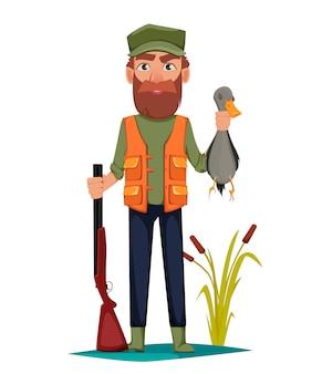 Personnage de dessin animé homme chasseur
