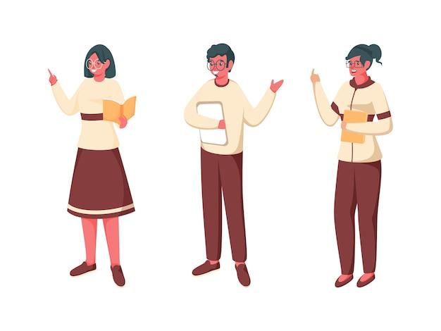 Personnage de dessin animé homme et femmes enseignants en pose debout.