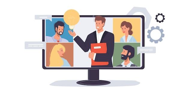 Personnage de dessin animé homme plat parler en ligne avec des amis collègues