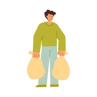 Personnage de dessin animé homme transportant des sacs poubelles croquis illustration vectorielle isolée