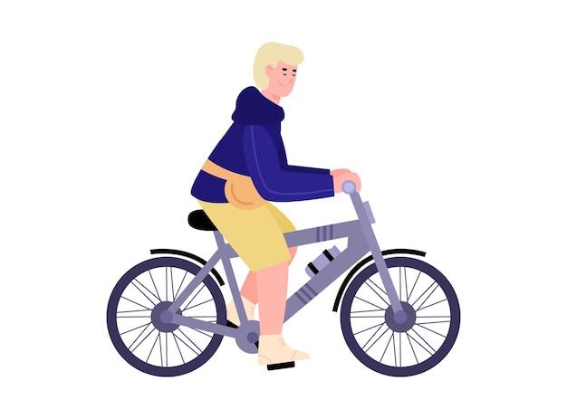 Personnage de dessin animé homme voyageant à vélo