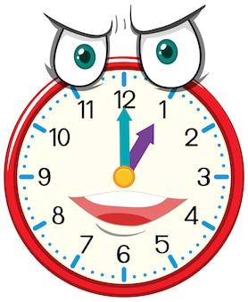 Personnage de dessin animé d'horloge avec expression faciale