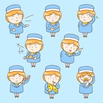 Personnage de dessin animé hôtesse de l'air mignon